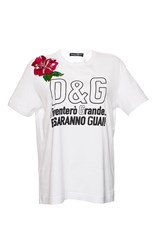 Dolce And Gabbana Flower Applique Crew Neck Tee White