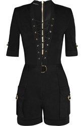 Balmain Lace Up Stretch Knit Playsuit