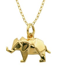 Lord And Taylor 18K Yellow Goldplated Sterling Silver Origami Elephant Pendant Necklace