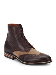 Walk Over Harkin Leather And Tweed Ankle Boots Chocolate