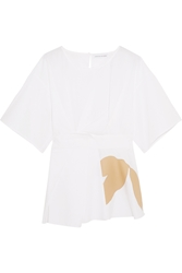 Jonathan Saunders Siobhan Faille Appliqued Cotton Poplin Top