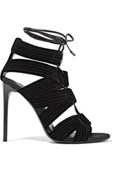 Tom Ford Lace Up Leather Trimmed Velvet Sandals Black