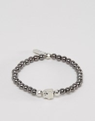 Icon Brand Beaded Bracelet In Gunmetal Exclusive To Asos Grey