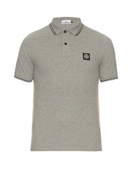 Stone Island Short Sleeved Stretch Cotton Polo Shirt Light Grey