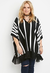 Forever 21 Striped Fringe Poncho Black Ivory