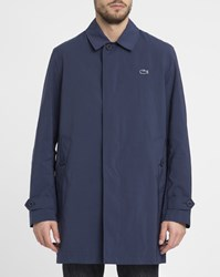 Lacoste Navy Removable Crocodile Chest Quilted Waterproof Down Jacket Blue