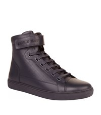 Armani Jeans Leather High Top Sneakers Male Black