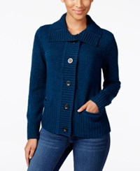 Karen Scott Marled Wing Collar Cardigan Only At Macy's Teal Lake Marl