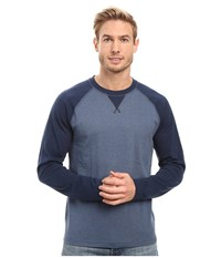 The North Face Long Sleeve Copperwood Crew Shady Blue Heather Worn Blue Heather Men's Clothing