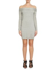 1.State Off The Shoulder Sheer Stripe Bodycon Dress Grey