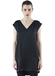 Ilaria Nistri Long Satin Tunic Top Black