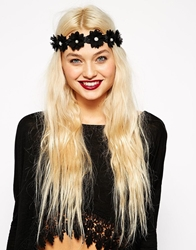 Asos Flower And Faux Pearl Ribbon Tie Headband Black