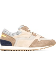 Eleventy Panelled Retro Sneakers Brown