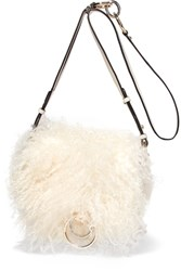Diane Von Furstenberg Love Power Shearling And Textured Leather Shoulder Bag Cream