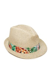 Forever 21 Floral Band Straw Fedora Natural Green