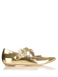 Simone Rocha Cross Strap Metalic Leather Flats Gold