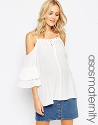 Asos Maternity Cold Shoulder Gypsy Top With Eyelets White