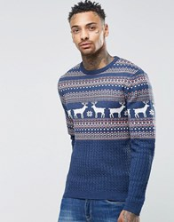 Asos Christmas Jumper With Stags And Cable Denim Twist Blue