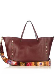 Valentino Rockstud Rolling Reversible Leather Tote Burgundy Multi