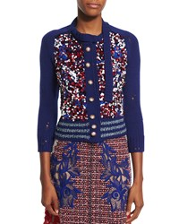 Marc Jacobs 3 4 Sleeve Sequined Cardigan Red White Blue Women's