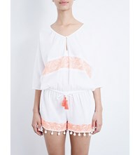 Heidi Klein Chile Cotton Playsuit White And Neon Coral