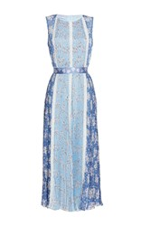Luisa Beccaria Chiffon Printed Plisse Dress With Lace Inserts