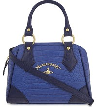 Vivienne Westwood Jungle Crocodile Embossed Leather Bugatti Handbag Blue