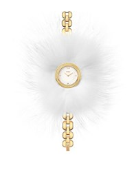 Fendi My Way Stainless Steel Fur Trimmed Watch Gold