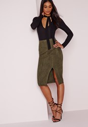 Missguided Thigh Split Faux Suede Midi Skirt Khaki Beige