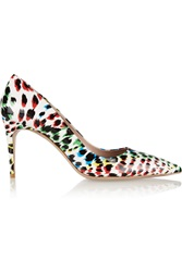 Miu Miu Leopard Print Patent Leather Pumps White