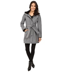 Jessica Simpson Long Softshell W Faux Fur Collar And Hood Heather Grey Women's Coat Gray