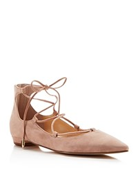 Ivanka Trump Tropica Pointed Toe Lace Up Flats Old Rose