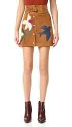 Red Valentino Suede Printed Skirt Cognac
