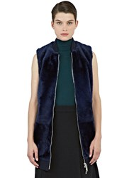 Drome Long Lamb Fur Gilet Blue