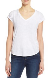Eileen Fisher Women's Organic Cotton V Neck Short Sleeve Tee White