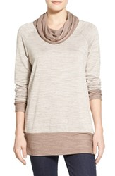 Women's Bobeau Cowl Neck Tunic Top Putty