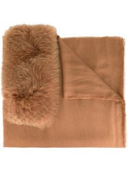 Valentino Fur Panel Scarf Nude And Neutrals