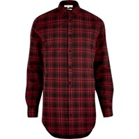River Island Mens Red Longline Checked Shirt