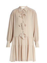 See By Chloe Bow Front Crinkled Georgette Dress Nude