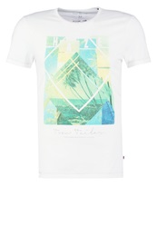Tom Tailor Fitted Print Tshirt Off White