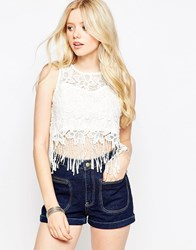 Parisian Crochet Lace Top With Fringing Trim White