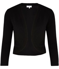 Cc Beaded Trim Knitted Bolero Black