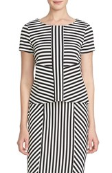 Women's Cece By Cynthia Steffe Stripe Jacquard Short Sleeve Top