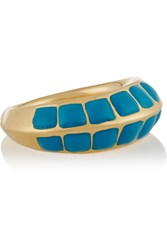 Aurelie Bidermann Apache Lacquered Gold Plated Ring Blue