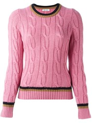 Dondup Contrast Stripe Jumper Pink And Purple