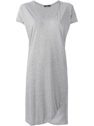 Bassike V Neck T Shirt Dress Grey