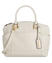 Tignanello Pretty Pockets Smooth Leather Convertible Satchel Eggshell
