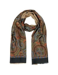 Forzieri Paisley Print Silk And Modal Reversible Men's Scarf Black