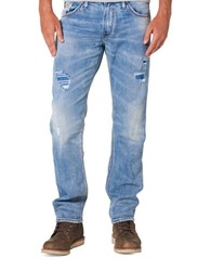 Silver Jeans Eddie Relaxed Fit Distressed Blue