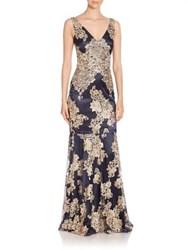 David Meister Lace Embellished Sleeveless Trumpet Gown Navy Gold
